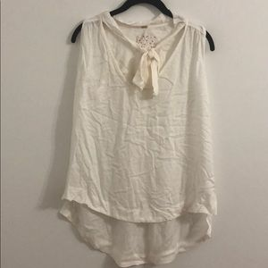 Free People ivory sleeveless tie front top